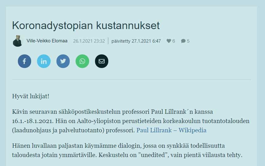 Koronadystopian kustannukset - Ville-Veikko Elomaa ja Paul Lillrank.