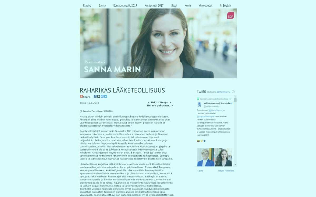 Sanna Marin: Raharikas lääketeollisuus.