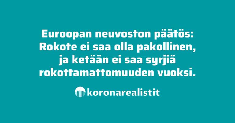 Euroopan neuvosto: Rokotuspakkoa ei saa olla