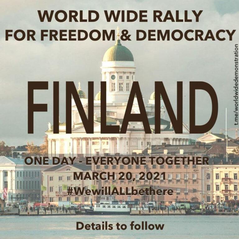 Vapauden puolesta -mielenosoitus lauantaina 20.3.2021 klo 14 – 17