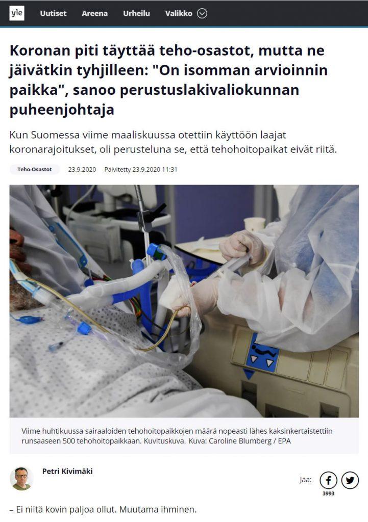 """""""Koronan piti täyttää teho-osastot, mutta ne jäivätkin tyhjilleen: 'On isomman arvioinnin paikka"""", sanoo perustuslakivaliokunnan puheenjohtaja. (Yle Uutiset)"""