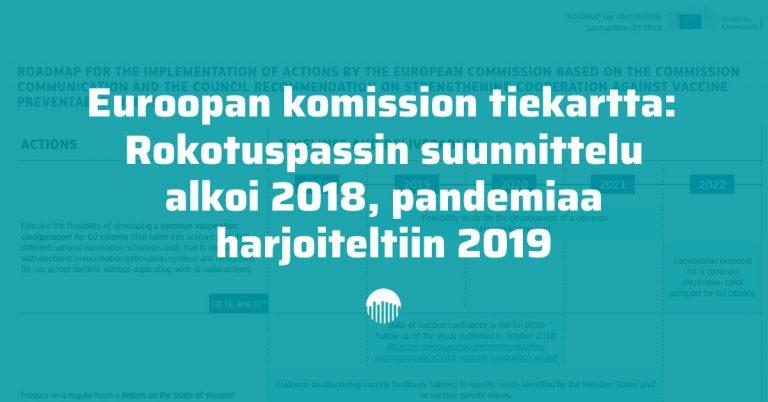Euroopan komission tiekartta: rokotuspassin suunnittelu alkoi 2018, pandemiaa harjoiteltiin 2019