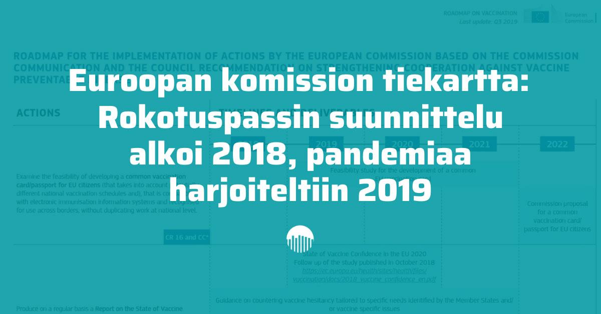 Euroopan komission tiekartta: Rokotuspassin suunnittelu alkoi 2018, pandemiaa harjoiteltiin 2019.