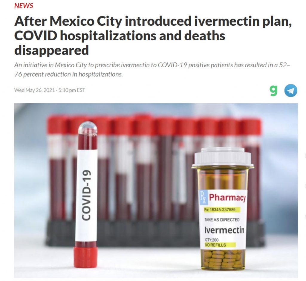 After Mexico City introduced ivermectin plan, COVID hospitalizations and deaths disappeared.