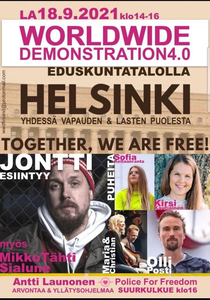 World Wide Demonstration Helsinki 18.9.2021.